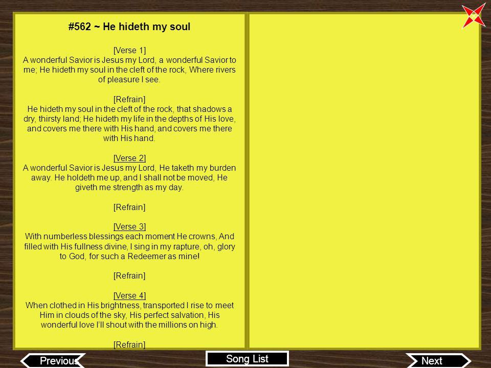 #562 ~ He hideth my soul [Verse 1]